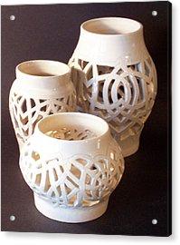 Three Interlaced Design Wheel Thrown Pots Acrylic Print by Carolyn Coffey Wallace