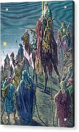 Three Kings  Christmas Card Acrylic Print by Gustave Dore