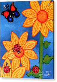 Three Ladybugs And Butterfly Acrylic Print by Genevieve Esson