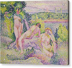 Three Nudes Acrylic Print by Henri Edmond Cross