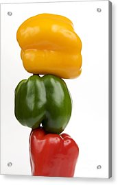 Three Peppers Acrylic Print by Bernard Jaubert