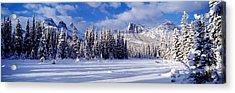 Three Sisters Bow Valley Kananaskis Acrylic Print by Panoramic Images