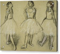 Three Studies Of A Dancer In Fourth Position Acrylic Print by Edgar Degas