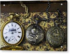 Three Train Pocket Watches Acrylic Print by Garry Gay