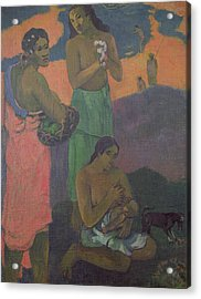 Three Women On The Seashore Acrylic Print by Paul Gauguin