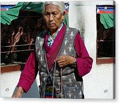 Tibetan Grandmother In Meditation Acrylic Print by Dagmar Batyahav