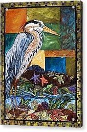 Tidepool Heron Acrylic Print by Melissa Cole
