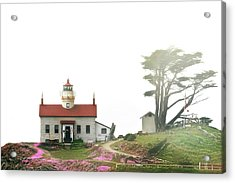 Tides Of Battery Point Lighthouse - Northern Ca Acrylic Print by Christine Till