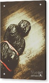 Tied And Wrapped Up Body In Garbage Bags Acrylic Print by Jorgo Photography - Wall Art Gallery