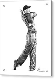 Tiger Woods Full Swing Acrylic Print by Murphy Elliott