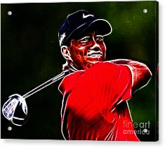 Tiger Woods Acrylic Print by Paul Ward