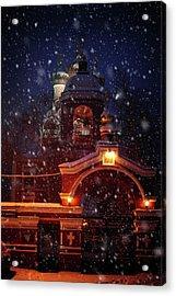 Tikhvin Church Gates. Snowy Days In Moscow Acrylic Print by Jenny Rainbow