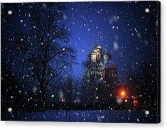 Tikhvin Church. Snowy Days In Moscow Acrylic Print by Jenny Rainbow