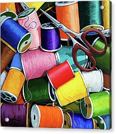 Time To Sew - Colorful Threads Acrylic Print by Linda Apple