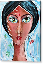 Timeless Dreamer - Woman Face Art By Valentina Miletic Acrylic Print by Valentina Miletic