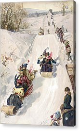 Tobogganing In The Countryside Acrylic Print by Hnery Sandham