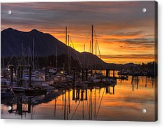Tofino Docks Sunrise - A Tribute Acrylic Print by Mark Kiver