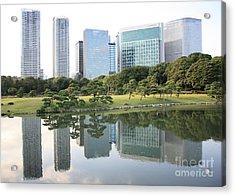 Tokyo Skyline Reflection Acrylic Print by Carol Groenen