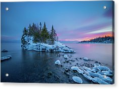 Tombolo Sunset // North Shore, Lake Superior  Acrylic Print by Nicholas Parker