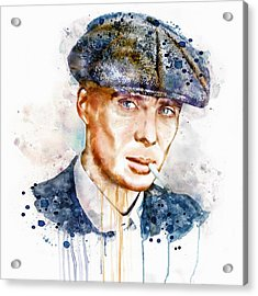 Tommy Shelby Watercolor Acrylic Print by Marian Voicu