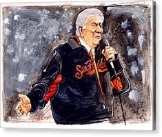 Tony Bennett Sings 'god Bless America' At World Series Acrylic Print by Dave Olsen
