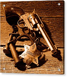 Tools Of Western Justice - Sepia Acrylic Print by Olivier Le Queinec
