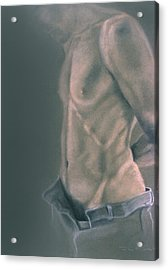 Torso With Jeans Acrylic Print by John Clum