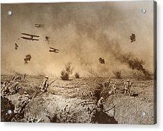 Total Trench Warfare World War One  1918 Acrylic Print by Daniel Hagerman