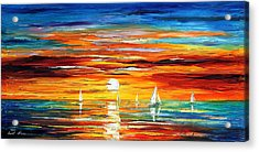 Touch Of Horizon 2 - Palette Knife Oil Painting On Canvas By Leonid Afremov Acrylic Print by Leonid Afremov