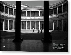 Tourists Inside A Courtyard At The Palace Of Charles V At Alhambra Acrylic Print by Sami Sarkis