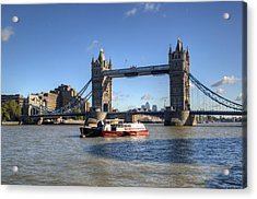 Tower Bridge With Canary Wharf In The Background Acrylic Print by Chris Day