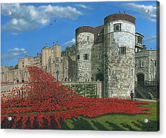 Tower Of London Poppies - Blood Swept Lands And Seas Of Red  Acrylic Print by Richard Harpum
