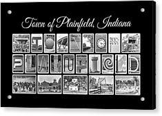 Town Of Plainfield Indiana In Black And White Acrylic Print by Dave Lee