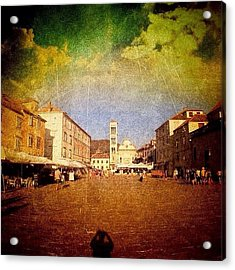 Town Square #edit - #hvar, #croatia Acrylic Print by Alan Khalfin