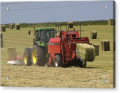 Tractor Bailing Hay At Harvest Time Acrylic Print by Andy Smy