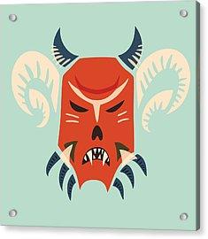 Traditional Bulgarian Evil Monster Kuker Mask Acrylic Print by Boriana Giormova