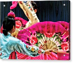 Traditional Korean Fan Dance Acrylic Print by Susan Savad