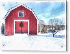Traditional New England Red Barn In Winter Watercolor Acrylic Print by Edward Fielding