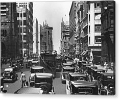 Traffic On Fifth Avenue Acrylic Print by Underwood Archives