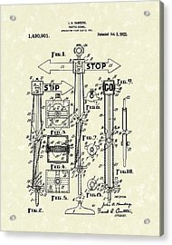Traffic Signal 1922 Patent Art Acrylic Print by Prior Art Design