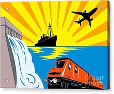 Train Boat Plane And Dam Acrylic Print by Aloysius Patrimonio