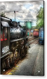 Train - Engine - 4039 - In The Train Yard  Acrylic Print by Mike Savad