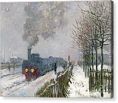 Train In The Snow Or The Locomotive Acrylic Print by Claude Monet