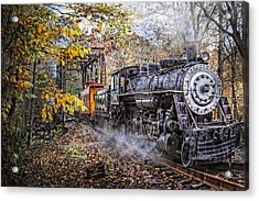 Train's Coming Acrylic Print by Debra and Dave Vanderlaan