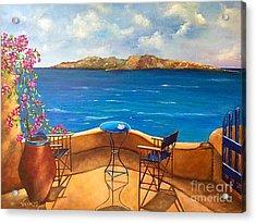 Tranquility Of Santorini Acrylic Print by Viktoriya Sirris