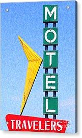 Travelers Motel Tulsa Oklahoma Acrylic Print by Wingsdomain Art and Photography