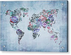 Traveler World Map Acrylic Print by Delphimages Photo Creations