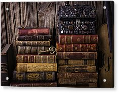 Treasure Box On Old Books Acrylic Print by Garry Gay
