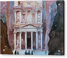Treasury Building Petra Jordan Acrylic Print by Arnel Sarmiento