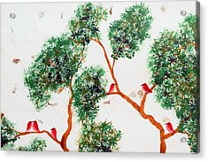 Tree And Red Birds 2 Acrylic Print by Sumit Mehndiratta